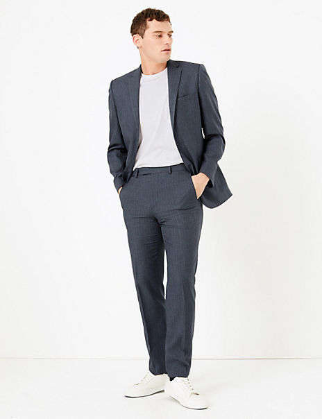 Navy Slim Fit Checked Suit