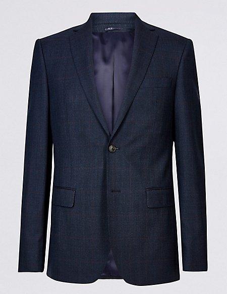 Indigo Checked Tailored Wool 3 Piece Suit