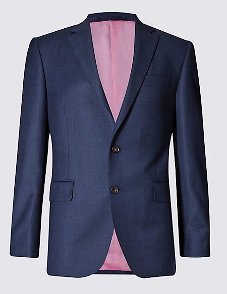 Blue Tailored Fit Wool Suit