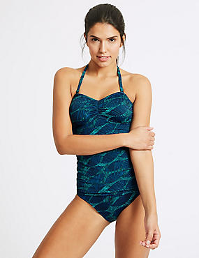 Leaf Print Non-Wired Tankini Set