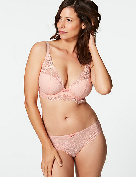Crochet Lace Set with Padded Plunge DD-GG