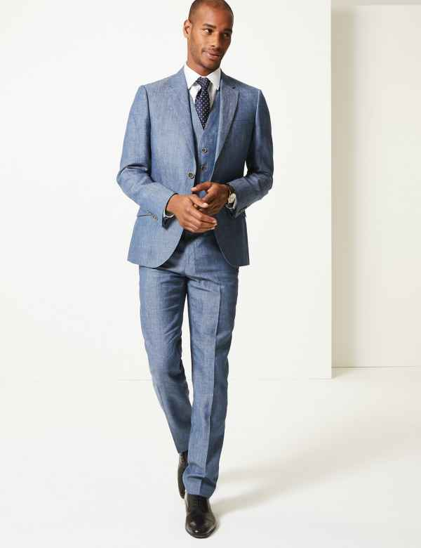 2ecbadc6a5cf Tailored Fit Linen Miracle 3 Piece Suit