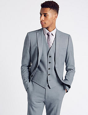 Blue Textured Modern Slim Fit 3 Piece Suit