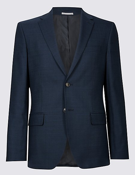 Navy Checked Tailored Fit Suit
