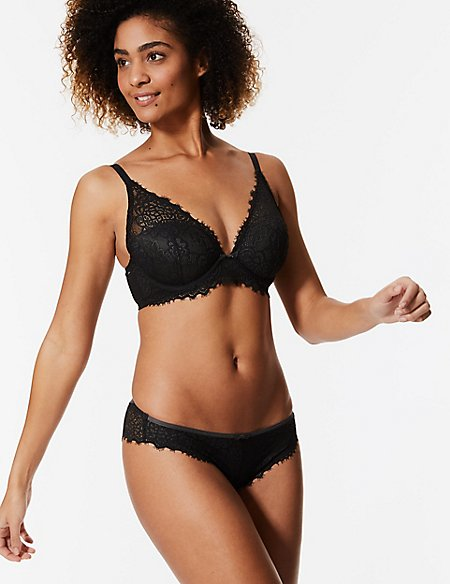 Lace Underwired Set with Plunge A-E
