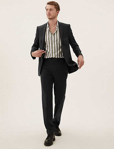 Black Slim Fit Wool Suit