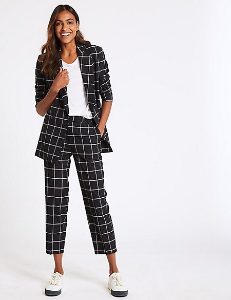 Checked Blazer & Straight Leg Trousers