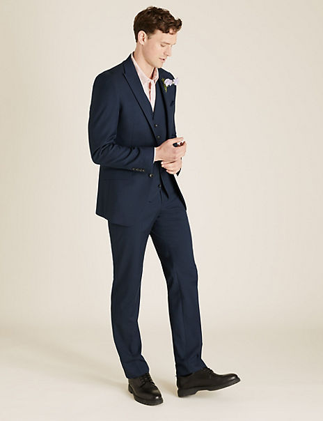 Tailored Fit 3 Piece Suit with Stretch