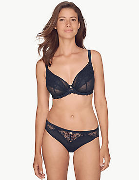 Spot Mesh & Lace Set with Plunge DD-G