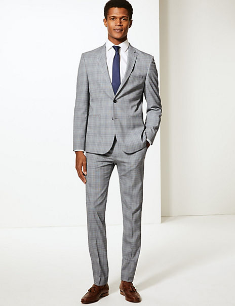 Grey Checked Skinny Fit Suit