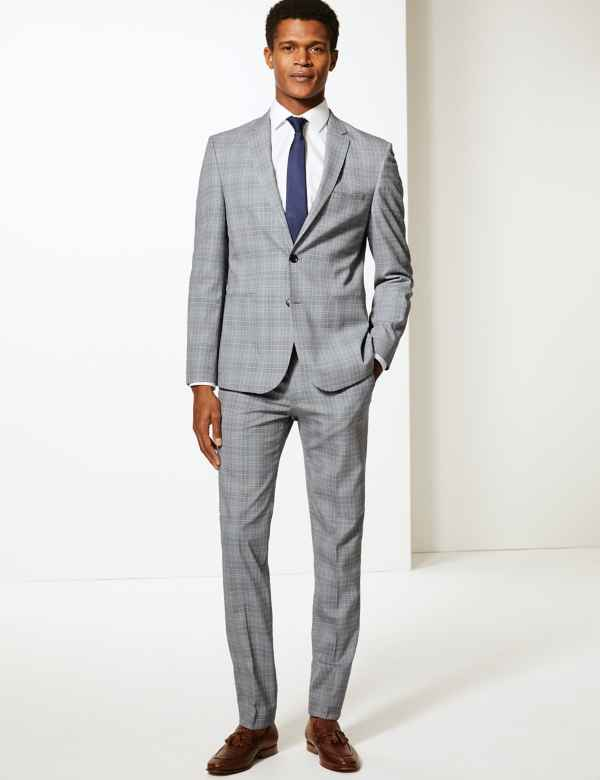 079972673e Grey Checked Skinny Fit Suit