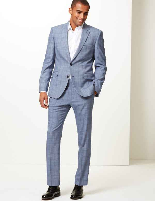 1f4da634a5b6 Blue Checked Tailored Fit Suit