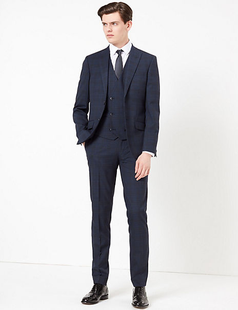 Blue Slim Fit Checked Suit