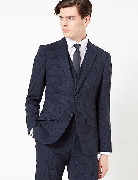 Blue Slim Fit Checked 3 Piece Suit