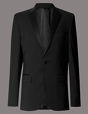 Black Tailored Fit Wool Rich with Lycra Tuxedo Suit