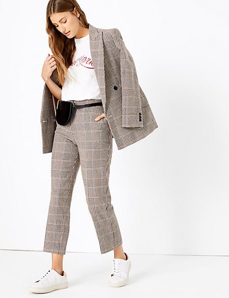 Checked Double Breasted Blazer & Trousers Suit Set