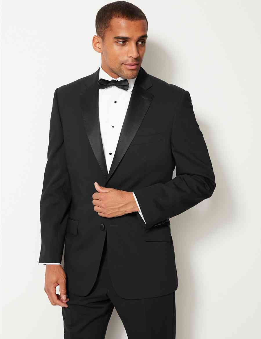40073e9075b Black Regular Fit Tuxedo Suit