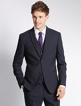 Navy Modern Slim Suit with Waistcoat
