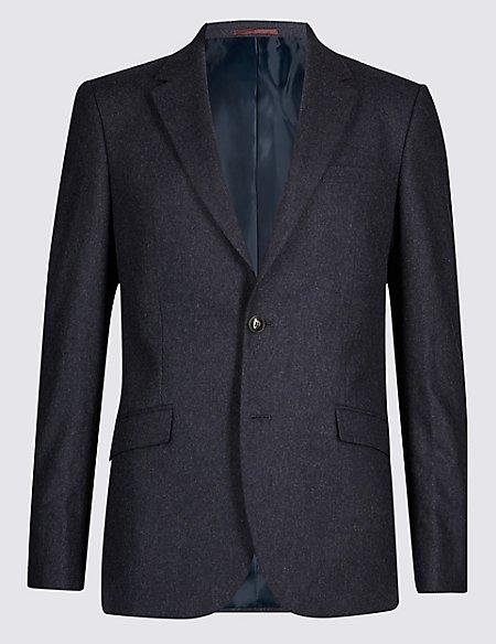 Indigo Textured Tailored Fit 3 Piece Suit
