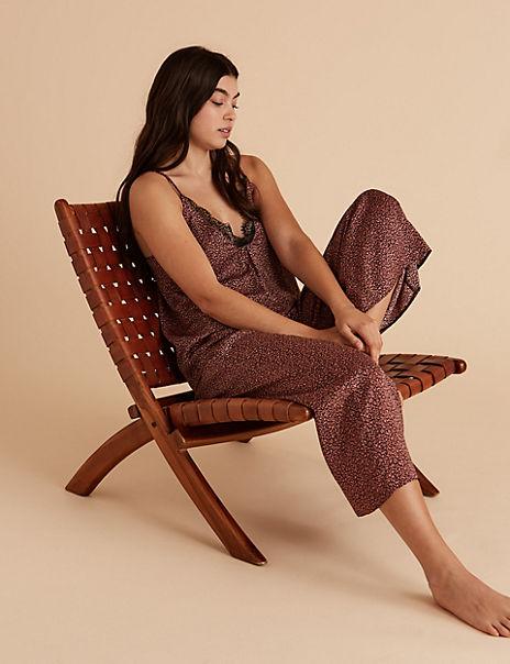 Satin Printed Camisole Top Pyjama Set