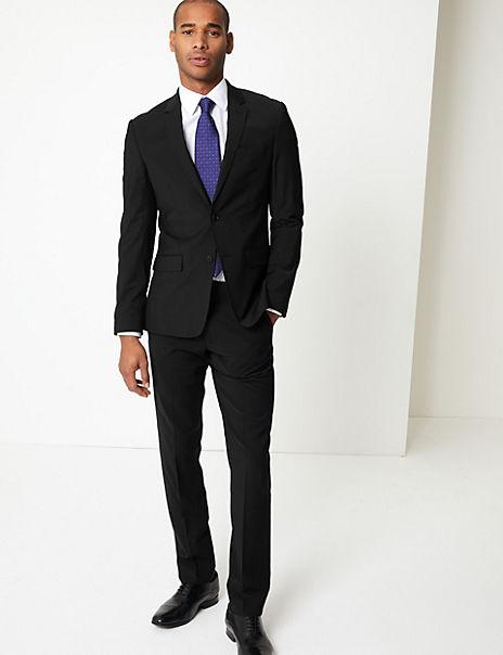 Black Slim Fit Wool Suit
