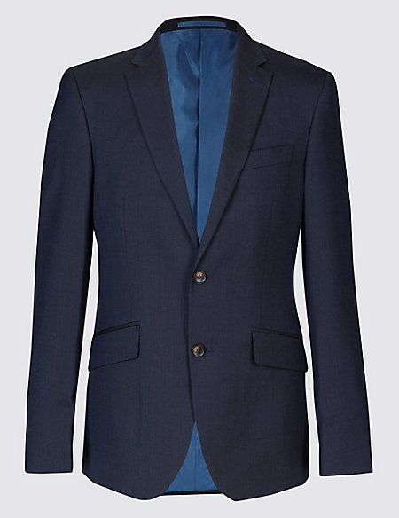Navy Striped Tailored Fit 3 Piece Suit