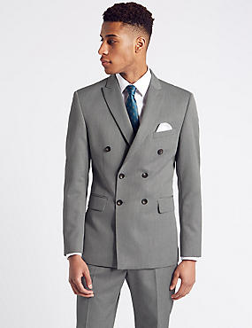 Grey Textured Double Breasted Suit