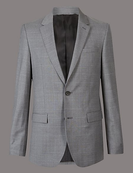 Grey Checked Tailored Fit Wool Suit