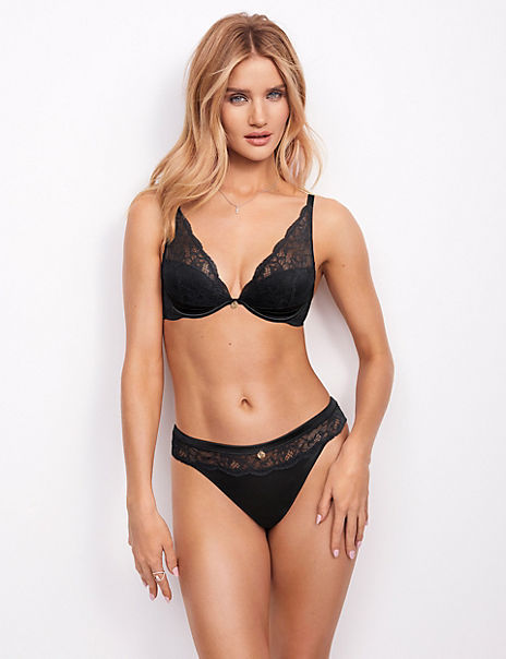 Silk & Lace Padded Set with Plunge Bra