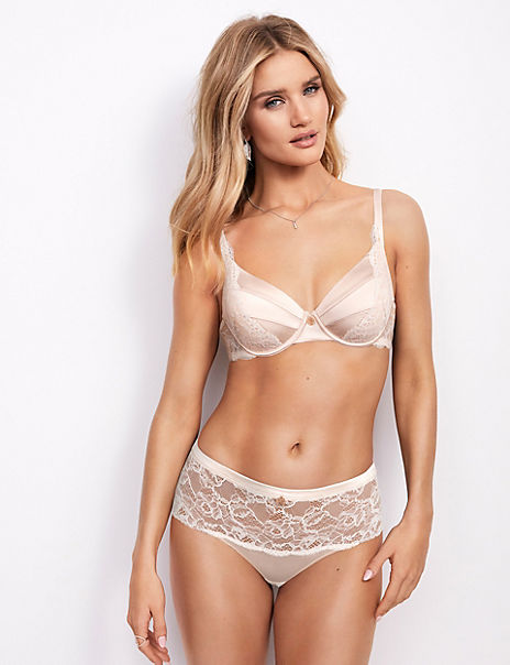 Silk & Lace Underwired Set with Full Cup Bra A-E