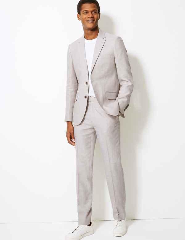 9de39c520fa16d Slim Fit Linen Miracle Suit