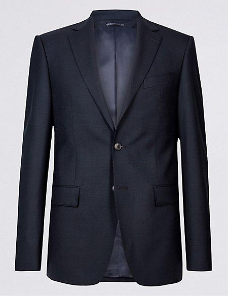 Navy Regular Fit Wool 3 Piece Suit