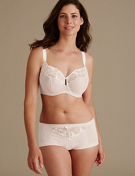 Floral Embroidered Set with Non-Padded Full Cup DD-H