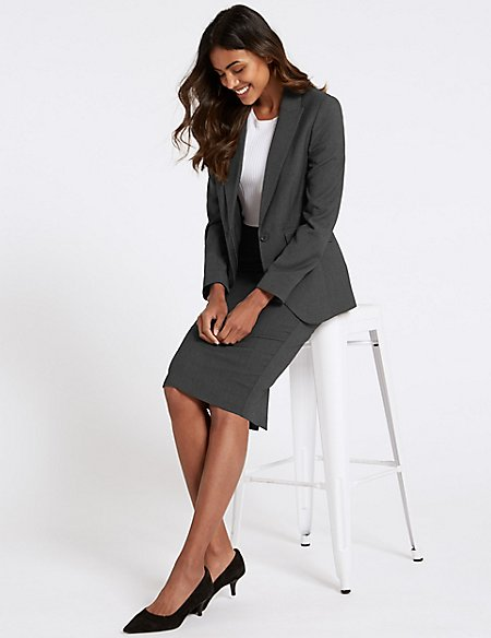 Textured Blazer & Pencil Skirt Suit Set