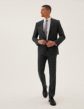 Tailored Fit Wool Checked Suit