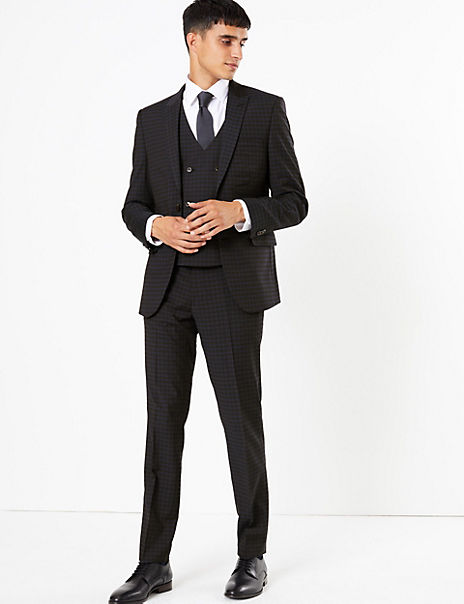 Checked Skinny Fit 3 Piece Suit with Stretch