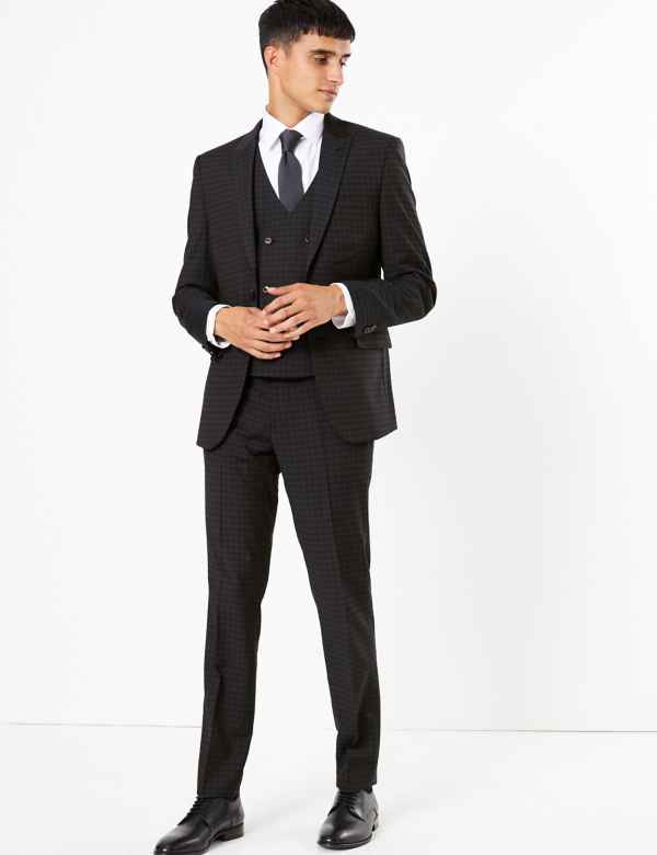 989d700fd03 Checked Skinny Fit 3 Piece Suit