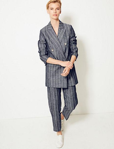 Pure Linen Striped Blazer & Trousers Suit Set