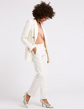 Linen Blend Blazer & Trousers Suit Set