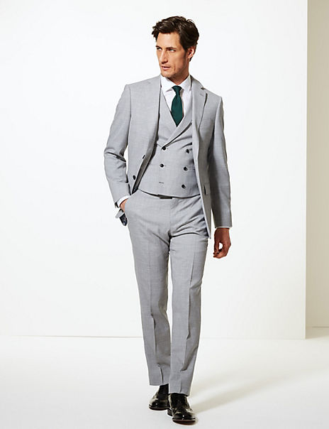 Grey Textured Regular Fit Wool 3 Piece Suit