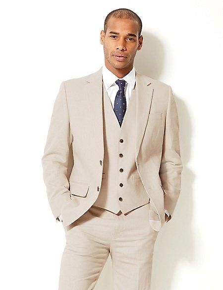 Textured Regular Fit 3 Piece Linen Suit