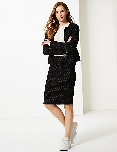 Jacquard Blazer & Skirt Suit Set