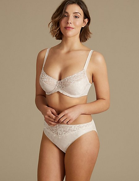 Jacquard Lace Minimiser Set with Full Cup C-G