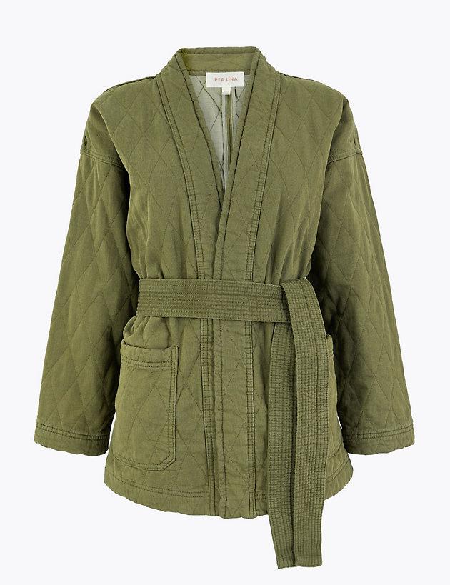 Denim Quilted Kimono Jacket