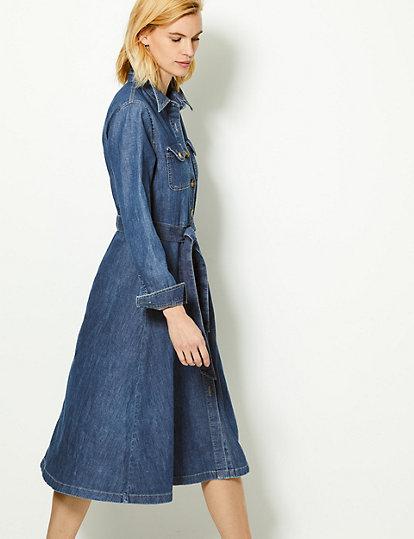 Denim Shirt Midi Dress | M&S Collection | M&S