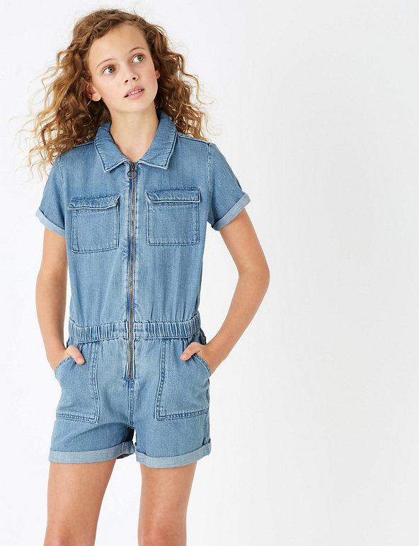 M/&S Denim Jumpsuit Boiler Suit Womens Blue Pure Cotton Popper Button Sizes 6 18