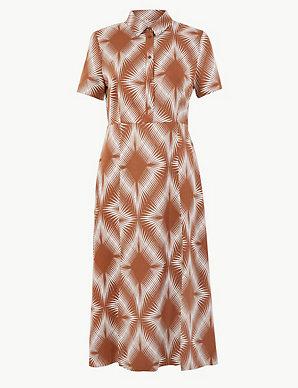 e7b91e29444 Diamond Print Shirt Midi Dress | M&S Collection | M&S