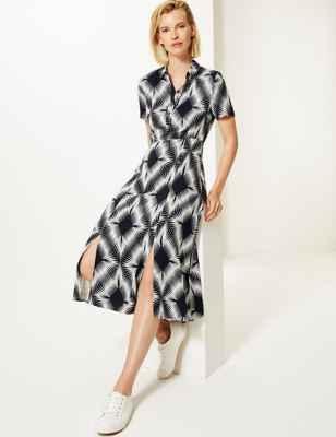 Diamond Print Shirt Midi Dress M&S plus-size