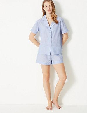 a246c0295b4 Dobby Revere Collar Short Pyjama Set