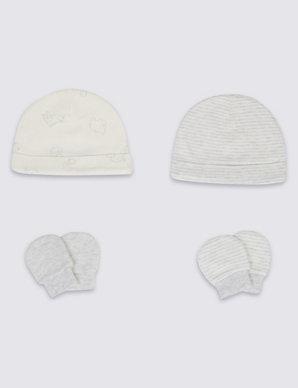 cd9992376a629 Easy Dressing 4 Piece Pure Cotton Premature Hat   Mittens Set